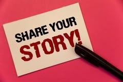 发短信给显示份额您的故事的标志诱导电话 概念性照片经验乡情记忆个人文本两词笔记w 免版税库存照片