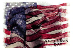 发短信给美国的退伍军人日和旗子,两次曝光 库存照片