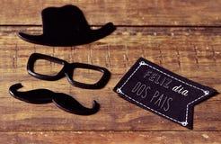 发短信给feliz dia dos pais,愉快的父亲节用葡萄牙语 库存图片