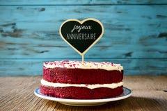 发短信给joyeux anniversaire,生日快乐用法语 免版税库存照片