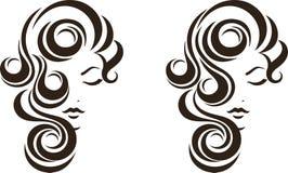 头发窗框象,女性面孔 免版税库存图片