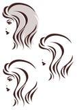 头发窗框象,妇女的面孔 库存图片