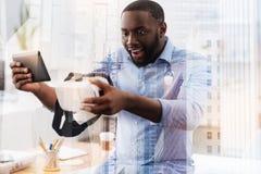 发笑非裔美国人的表达的惊讶 免版税图库摄影