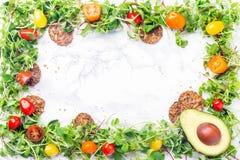 发芽的婴孩绿化框架用西红柿、种子和坚果 免版税库存图片