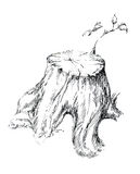 从树桩图表例证的新芽 免版税库存照片