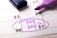 发薪日概念日历与标志和盘旋的天薪金 免版税库存图片