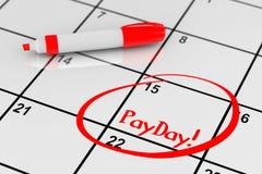 发薪日概念 与红色标志的日历和提醒发薪日标志 免版税库存图片