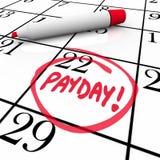 发薪日词盘旋的日历收入从事日期 免版税库存照片