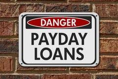 发薪日贷款危险标志 库存照片