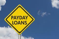 发薪日贷款黄色警告高速公路路标 免版税图库摄影