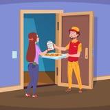 发运家 男孩提供递支付命令的薄饼和妇女顾客 家庭交付食物传染媒介概念 向量例证