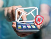 发送同样的消息到多个新闻组消息在一个未来派接口显示的电子邮件标志- 免版税库存照片