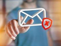 发送同样的消息到多个新闻组消息在一个未来派接口显示的电子邮件标志- 免版税库存图片
