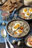 发酵母汤用香肠- zurek,传统波兰汤 库存照片