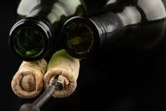 发酵管和拔塞螺旋在一张黑桌上 辅助部件需要准备自创酒 免版税图库摄影