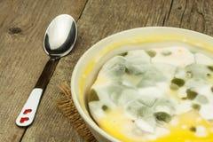 发霉的布丁 充分毒食物模子 不健康的食物 真菌的孢子食物的 免版税库存图片