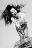 头发飞行妇女 免版税图库摄影
