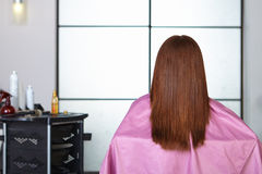 发廊。妇女` s理发。后面看法。 库存照片