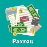 发货票板料、paysheet或者工资单象 计算和预算科目 免版税库存图片