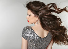 头发 美丽的深色的女孩 健康长的头发 秀丽式样W 图库摄影