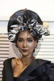 头发从Chalachol学院的时装表演,当前头发设计 免版税库存照片