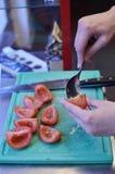 取出内脏的蕃茄 库存照片