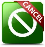 取消禁止标志象绿色正方形按钮 库存图片