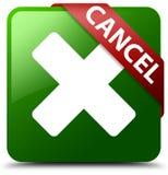 取消绿色方形的按钮 免版税库存图片