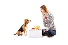 取笑与小狗的美丽的少妇 免版税图库摄影