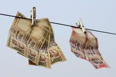 取缔在Rs 500, 1000笔记是在恐怖资助的外科罢工的Rs,黑金钱 库存照片