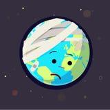 受伤的地球,疼的世界概念- 免版税库存照片