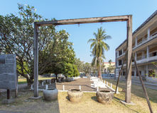 受害者的图片在Tuol Sleng Genoside博物馆,金边,柬埔寨 库存照片