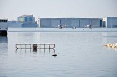 受影响的机场donmuang洪水 免版税库存照片