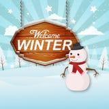 受欢迎的冬天Woodsign蓝色背景传染媒介图象 免版税库存图片