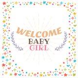 受欢迎的女婴阵雨卡片 逗人喜爱的明信片 更改地址通知单 库存照片