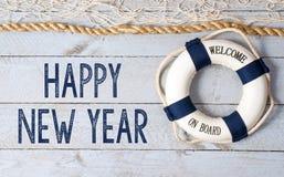 受欢迎的新年快乐-在船上 库存图片