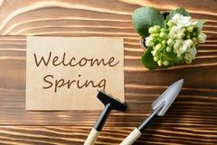 受欢迎的春天纸和园艺工具 库存照片