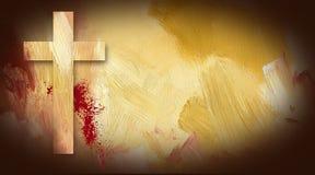 受难象十字架在纹理背景的血迹 免版税库存照片