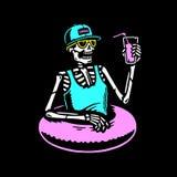 变冷与鸡尾酒和游泳圆环的骨骼多色 库存例证