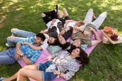 变冷在野餐毯子的愉快的朋友在夏天 免版税库存图片