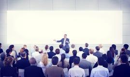 变化商人研讨会介绍队概念 库存图片