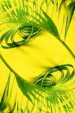 变异热带棕榈叶黄色舱内甲板位置 图库摄影