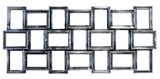 变成银色的装饰照片框架 免版税库存照片