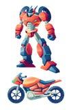 变换在摩托车动画片传染媒介的机器人 向量例证