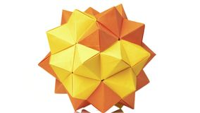 变换尖刻的球的橙色origami 皇族释放例证