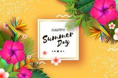 变粉红色木槿花 热带的夏天 棕榈叶,植物,赤素馨花-在纸的羽毛削减了艺术 鸟加那利群岛天堂tenerife 库存照片
