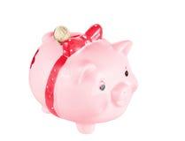 变粉红色猪硬币配件箱 免版税图库摄影
