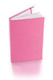 变粉红色皮革日志书-裁减路线 库存图片