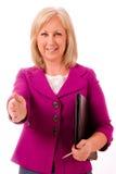 变老的女实业家中间名纵向 免版税库存图片