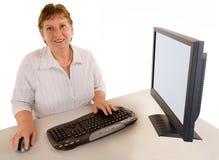 变老的女实业家中间名 免版税库存图片